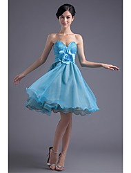 Lanting Bride Knee-length Organza / Stretch Satin Bridesmaid Dress Princess Strapless with Beading / Flower(s)