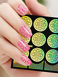 Flower Form DIY Hollow Out Tags Nail Art Diecut Manicure Stencils Guide