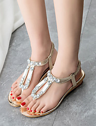 Women's Summer Wedges / Flip Flops / Round Toe Leatherette Outdoor / Casual Wedge Heel Crystal Silver / Gold