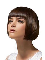 virgem brasileiro do cabelo humano bob peruca cor natural sem intervalos peruca reto de seda