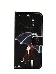 Girl Umbrella Lightning Pattern Painted PU Phone Case for iphone 6/6S