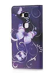 For Huawei Case with Stand / Flip / Pattern Case Full Body Case Butterfly Hard PU Leather Huawei