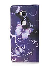 Pour Coque Huawei Avec Support / Clapet / Motif Coque Coque Intégrale Coque Papillon Dur Cuir PU Huawei