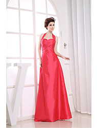 Formal Evening Dress Sheath / Column Halter Floor-length Taffeta with Side Draping