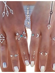 Hot Style A Hoard Of Moon Arrow Elephant Joint Ring 6 Piece Combination Ring Set