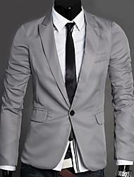 Men's Solid Casual Blazer,Cotton Long Sleeve Black / Blue / Gray