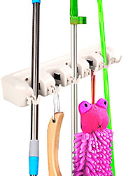 Holder Hanger 5 Position Home Kitchen Storage Broom Organizer Plastic Wall Mounted