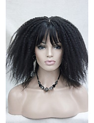 Afro Kinky Curly Off Black Medium Length women's Synthetic Wig with Bangs Senegal Havana style 10062 2