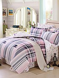 Striped and plaild 100% Cotton Bedclothes 4pcs Bedding Set Queen Size Duvet Cover Set