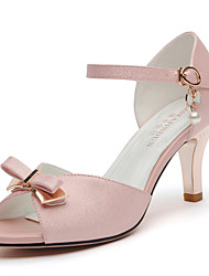 Women's Shoes Synthetic Stiletto Heel Peep Toe Sandals Wedding / Office & Career / Dress / Casual Pink / White