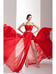Formal Evening Dress Sheath / Column Sweetheart Chapel Train Chiffon / Charmeuse with Beading / Side Draping / Split Front