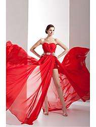 Formal Evening Dress Sheath/Column Sweetheart Chapel Train Chiffon / Charmeuse