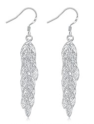 lureme®Fashion Style Silver Plated More Lealves Shaped Dangle Earrings