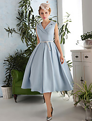A-Line V-neck Tea Length Polyester Satin Taffeta Cocktail Party Prom Dress with Sash / Ribbon
