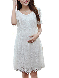 Elegant Hot Sale Round Neck Lace / Layered Maternity Dress Knee-length Short Sleeve Lace Temperament Slim Dress