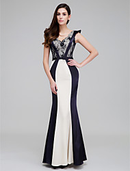 Formal Evening Dress Trumpet / Mermaid V-neck Ankle-length Satin with Lace