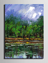 Mini Size E-HOME Oil painting Modern Pond Side Of The Green Forest Pure Hand Draw Frameless Decorative Painting