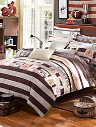 Brown striped 100% Cotton Bedclothes 4pcs Bedding Set Queen Size Duvet Cover Set