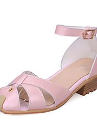 Zapatos de mujer-Tacón Bajo-Tacones / Puntiagudos-Tacones-Vestido / Casual-Semicuero-Rosa / Rojo / Blanco / Plata