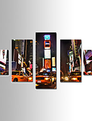 5 Panels Landscape Canvas Print Car Light Night Scenery Ready to Hang,Any Shape with Pure Cotton Drawing Core