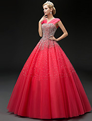 Formal Evening Dress - Sparkle & Shine Ball Gown Straps Floor-length Tulle with Beading Sequins