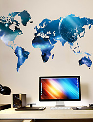 Exquisite Fashion Blue World Map PVC Wall Sticker Wall Decals with Transfer Film