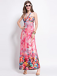 Women's Boho Print Sheath Dress,Halter Maxi Polyester
