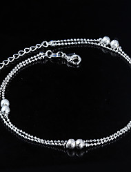 Women's Fashion Platinum Plated Double Ball Anklets