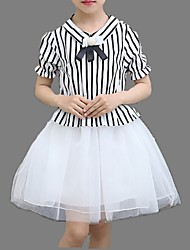 Girl's Black / Red Dress,Lace / Stripes Cotton Summer