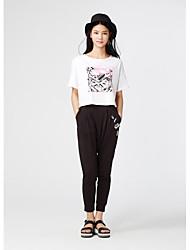 Mètres / bonwe Femme Taille Normale Sarouel Noir Pour tous les jours Pantalon-249725