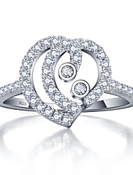 925 Sterling Silver Women Jewelry High Quality Heart-shaped Ring with Cubic Zirconia Setting Perfect Gift For Girls