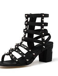 Women's Shoes Leather Chunky Heel Heels / Fashion Boots / Open Toe Sandals Office & Career / Dress / Casual Black