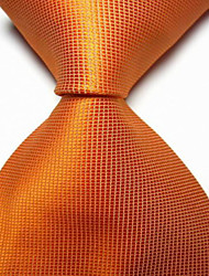 Orange Checked JACQUARD WOVEN Men's Tie Necktie