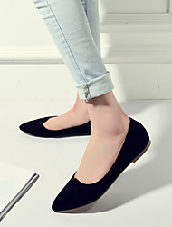 Women's Shoes Suede Flat Heel Moccasin / Pointed Toe / Closed Toe Flats Dress / Casual Black / Gray
