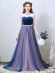 Formal Evening Dress-Royal Blue A-line Sweetheart Sweep/Brush Train Tulle