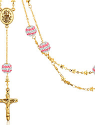 Women Stainless Steel Jewelry High Quality Necklace Pendant Rose Gold Plated and Crystal Setting Female Clavicle Chain