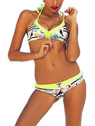 De las mujeres Bikini-Floral Push-Up-Halter-Poliéster