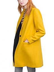 Women's Solid White / Gray / Yellow Coat,Simple Long Sleeve Wool