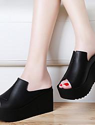 Zapatos de mujer-Tacón Plano-Plataforma-Sandalias-Oficina y Trabajo / Vestido / Fiesta y Noche-Semicuero-Negro / Blanco