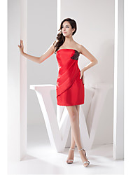 Cocktail Party Dress Sheath/Column Strapless Short/Mini Taffeta