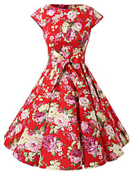 Women's Cap Sleeves Red Flowers Floral Dress , Vintage Cap Sleeves 50s Rockabilly Swing Dress