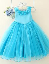 Ball Gown Knee-length Flower Girl Dress - Satin / Tulle Sleeveless