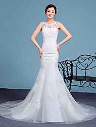 Trumpet / Mermaid Wedding Dress Court Train Scoop Lace / Tulle with Lace