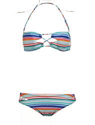 Women's Bandeau Bikinis , Geometric Polyester Multi-color