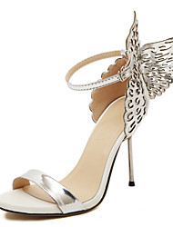 Women's Shoes Leather / Patent Leather Stiletto Heel Pom-pom / Open Toe Sandals Dress / Casual Silver / Gold