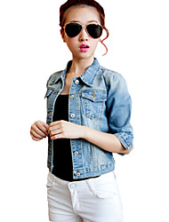 Women's Casual/Daily Street chic Denim Jackets,Solid Shirt Collar ¾ Sleeve Spring Blue Bamboo Fiber