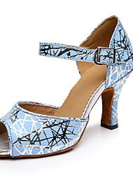 Customizable Women's Dance Shoes Leather Leather Latin Sandals Stiletto Heel Performance Blue
