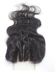 Brazilian Virgin Human Hair Lace Closures 1B Soft 3 part Body Wave Top Closure
