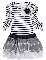 Girl's Black / White Dress,Stripes Cotton Winter