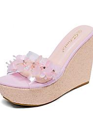 Розовый / Белый-Женская обувь-Для праздника-Силикон-На танкетке-На танкетке / С открытым носком / На платформе-Сандалии